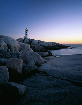 Peggys Cove Lighthouse In The Evening Art Print by Panoramic Images