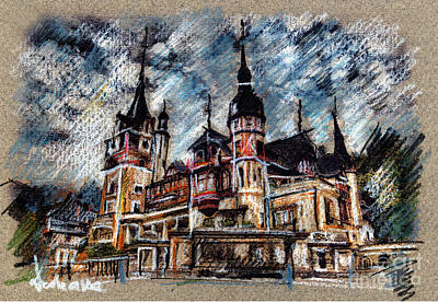 Drawing - Peles Castle Romania Drawing by Daliana Pacuraru