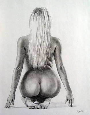 Drawing - Pencil Nude 18 by Steve Jones
