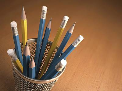 Pencils In A Pot Art Print by Ktsdesign