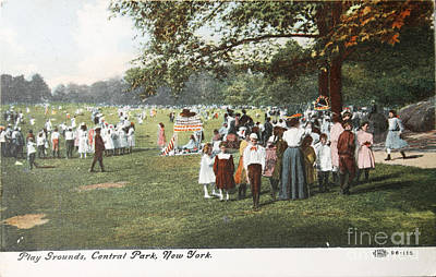 Photograph - People At The Playground In Central Park Circa 1910 On Ancient P by Patricia Hofmeester