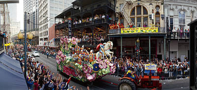 Louisiana Photograph - People Celebrating Mardi Gras Festival by Panoramic Images