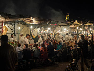 People Eating At One Of The Stalls Art Print
