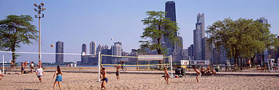 People Playing Beach Volleyball Art Print