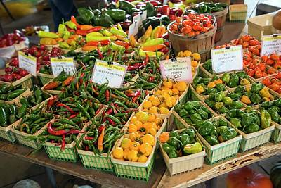 Peppers On A Market Stall Art Print by Jim West