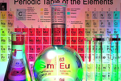 Erlenmeyer Flask Photograph - Periodic Table Of The Elements by Carol & Mike Werner