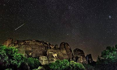 Perseid Meteor Track Over Meteora Art Print by Babak Tafreshi