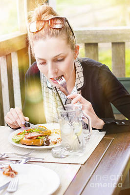 Candid Photograph - Person On Outdoor Restaurant Deck Eating Lunch by Jorgo Photography - Wall Art Gallery