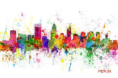 Perth Australia Skyline Art Print
