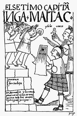 Inca Drawing - Peru Inca Warrior by Granger