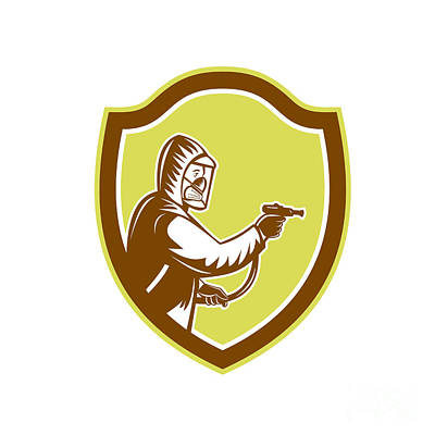 Pest Digital Art - Pest Control Exterminator Spraying Shield Retro by Aloysius Patrimonio