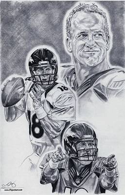 Denver Drawing - Peyton Manning by Jonathan Tooley