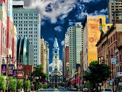Broad Street Digital Art - Philadelphia Blue Skies by Bill Cannon