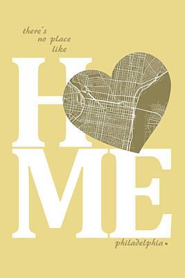 Philadelphia Digital Art - Philadelphia Street Map Home Heart - Philadelphia Pennsylvania R by Jurq Studio