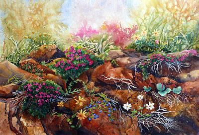 Wall Art - Painting - Phlox On The Rocks by Karen Mattson