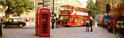 Double Decker Photograph - Phone Box, Trafalgar Square Afternoon by Panoramic Images