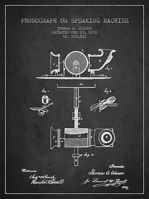Phonograph Drawing - Phonograph Or Speaking Machine Patent Drawing From 1878 by Aged Pixel