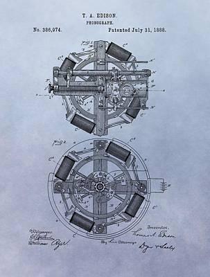Phonograph Patent Art Print by Dan Sproul