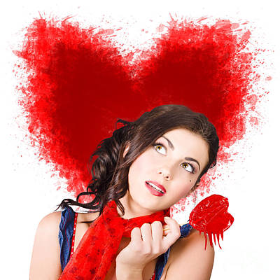 Art Model Photograph - Photo Of Romantic Woman Holding Heart Shape Candy by Jorgo Photography - Wall Art Gallery