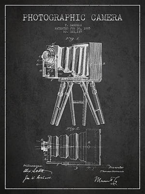 Photographic Camera Patent Drawing From 1885 Art Print by Aged Pixel