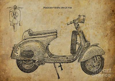 Vespa Mixed Media - Piaggio Vespa 150 Gs Vs4 by Pablo Franchi