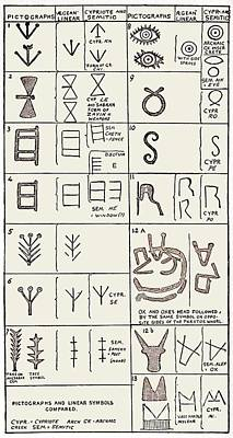 Pictographs And Linear Script Symbols Art Print by Sheila Terry