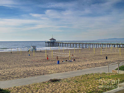 Photograph - Pier Bike Path And Volleyball Courts by David Zanzinger