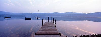 Contemplative Photograph - Pier, Pleasant Lake, New Hampshire, Usa by Panoramic Images