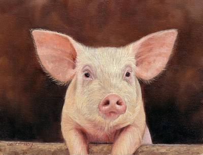 Painting - Pig by David Stribbling