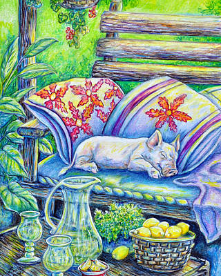 Painting - Pig On A Porch by Gail Butler