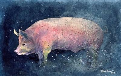Pig Art Print by Tim Oliver