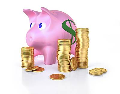 Piggy Bank Photograph - Piggy Bank And Gold Coins by Leonello Calvetti