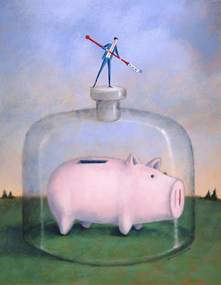 Earnings Painting - Piggy Bank by Steve Dininno