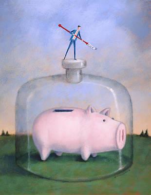 Saving Painting - Piggy Bank by Steve Dininno