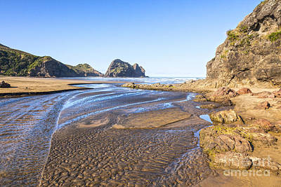 Piha Beach Textured Sand Auckland New Zealand Print by Colin and Linda McKie