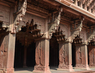 Photograph - Pillars At Agra Fort In India by Brandon Bourdages