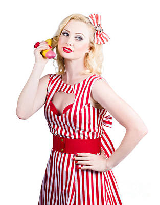 Pin Up Woman Ordering Organic Food On Banana Phone Art Print by Jorgo Photography - Wall Art Gallery