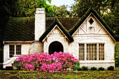 Old House Photograph - Pink Azaleas - Old Southern Charm By Sharon Cummings by Sharon Cummings
