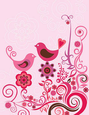 Pink Birds And Ornaments Art Print