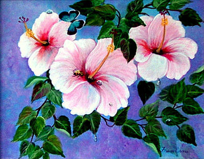 Painting - Pink  Hibiscus by Fram Cama