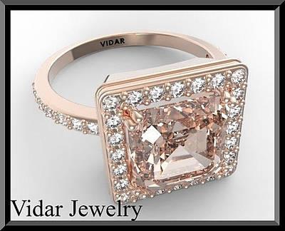14k Jewelry - Pink Morganite And Diamond 14k Rose Gold Engagement Ring by Roi Avidar