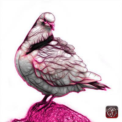 Digital Art - Pink Pigeon Pop Art 5516 - Fs - Bb -  Modern Animal Artist James by James Ahn