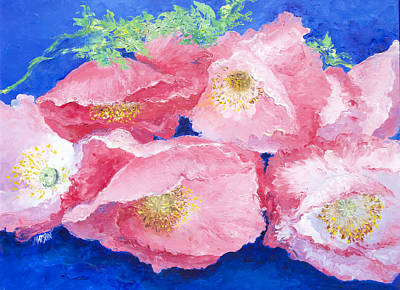 One Single Pink Poppy Flower Painting - Pink Poppies by Jan Matson