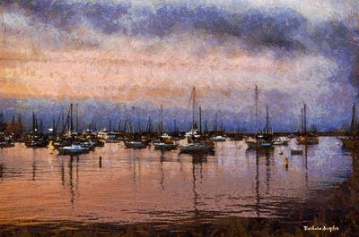 Eatery Digital Art - Pink Reflections Monterey Bay by Barbara Snyder