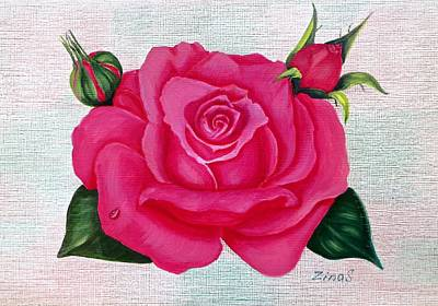 Pink Rose Art Print by Zina Stromberg
