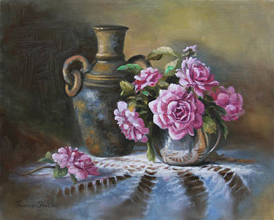 Pink Roses In Silver Original by Theresa Shelton