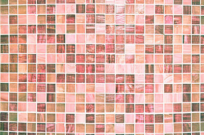 Mosaic Photograph - Pink Tiles by Tom Gowanlock