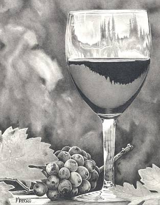 Merlot Drawing - Pinot Adoration by Mark Treick