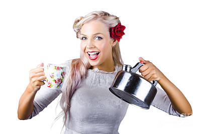 White Steamer Photograph - Pinup Girl Holding Kettle And Mug by Jorgo Photography - Wall Art Gallery