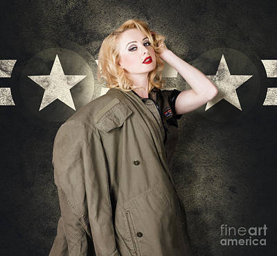 Cadet Photograph - Pinup Girl In Retro Model Makeup And 60s Hairstyle by Jorgo Photography - Wall Art Gallery